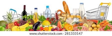 fresh variation of food and beverages - stock photo