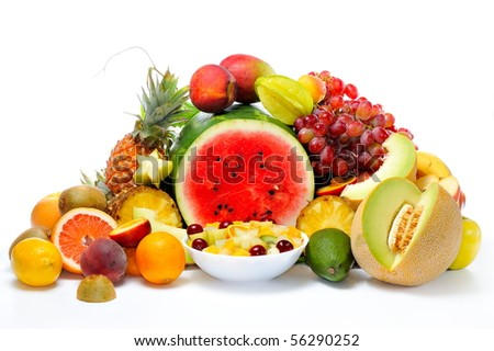 fresh various fruits - stock photo