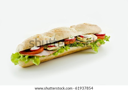 Fresh vegetable and ham sandwich - isolated - stock photo