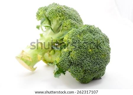 fresh vegetable,Fresh broccoli On a white background - stock photo