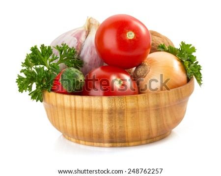 fresh vegetable in plate isolated on white background - stock photo