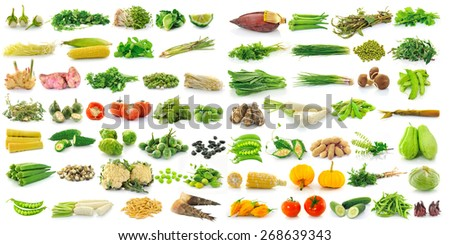 fresh vegetable isolated on a white background  - stock photo