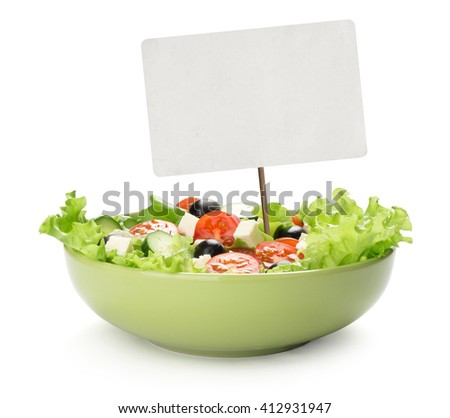 fresh vegetable salad and blank tag. Isolated on white background - stock photo