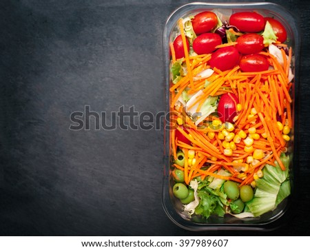 Fresh vegetable salad - Healthy food with copy space for text. Healthy lifestyle concept - stock photo