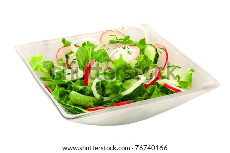 fresh vegetable salad in a plate over white - stock photo