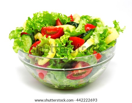 Fresh vegetable salad isolated on a white background - stock photo