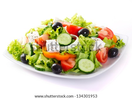 fresh vegetable salad isolated on white background - stock photo