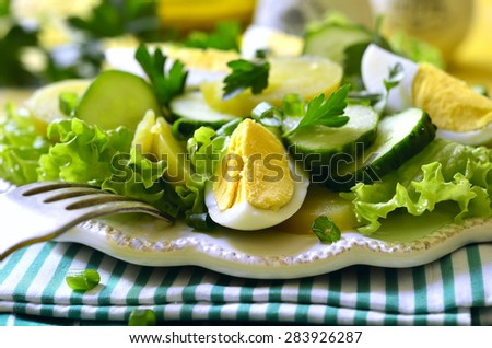 Fresh vegetable salad with eggs on a white plate. - stock photo