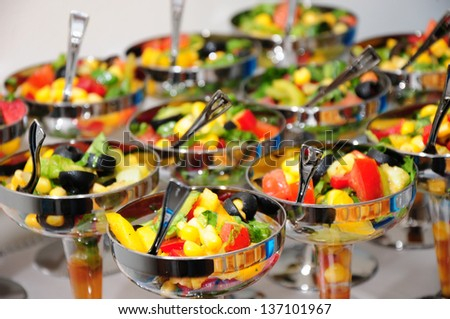 Fresh vegetable salads served in glass - stock photo