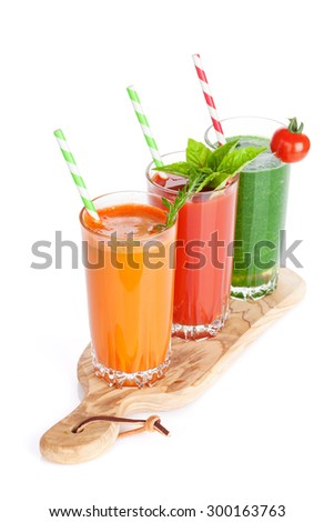 Fresh vegetable smoothie. Tomato, cucumber, carrot. Isolated on white background - stock photo
