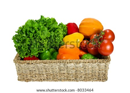 Fresh vegetable variety in a basket - stock photo