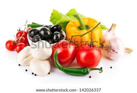 fresh vegetable with italian cheese mozzarella isolated on white background - stock photo