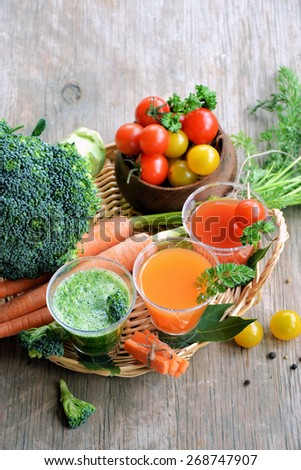 fresh vegetables and aromatic herbs, vegetarian food - stock photo