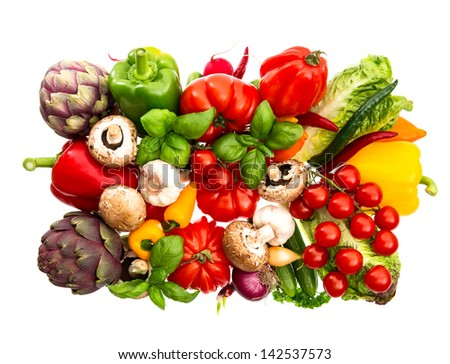 fresh vegetables and herbs isolated on white. food background. tomato, paprika, artichoke, mushrooms; cucumber, green salad, basil - stock photo
