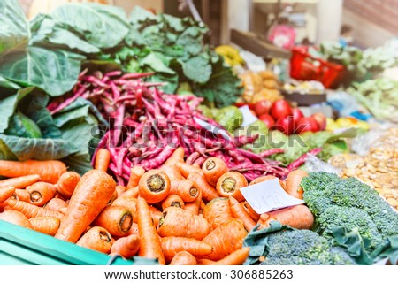 Fresh vegetables at local farmers market - stock photo
