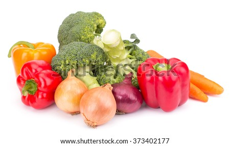 Fresh vegetables: brocolli, bell peppers, carrot, onion isolated on white background - stock photo