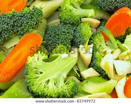 Fresh Vegetables Chopped in Preparation for Cooking - stock photo