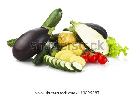 fresh vegetables close up on the white background - stock photo