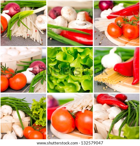 Fresh vegetables collage on the kitchen table closeup - stock photo