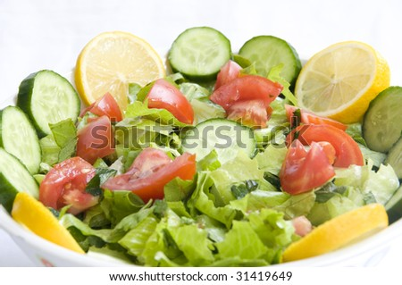 Fresh Vegetables, cucumber and other foodstuffs - stock photo