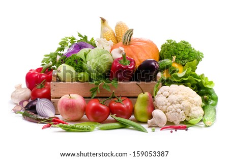 Fresh vegetables, fruit and spicy herbs  isolated on white background - stock photo