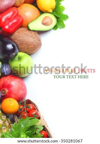Fresh vegetables fruits isolated white background - stock photo