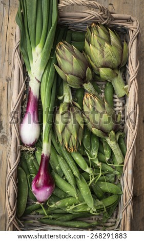 Fresh vegetables in a basket (artichokes,peas and red onions from Tropea) - stock photo