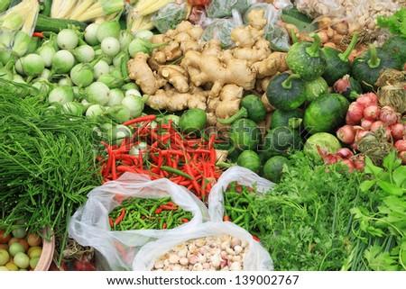 Fresh vegetables in market , Asia, Thailand - stock photo