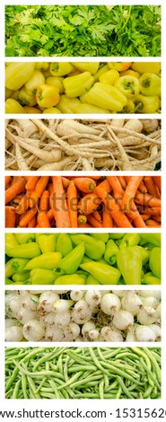 Fresh Vegetables In Market Collage - stock photo