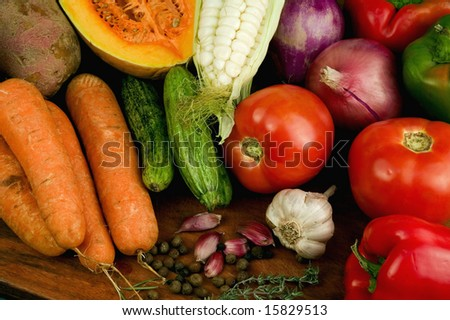Fresh vegetables in the table - stock photo