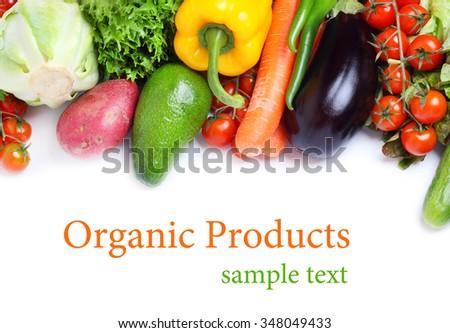 fresh vegetables isolated white background - stock photo