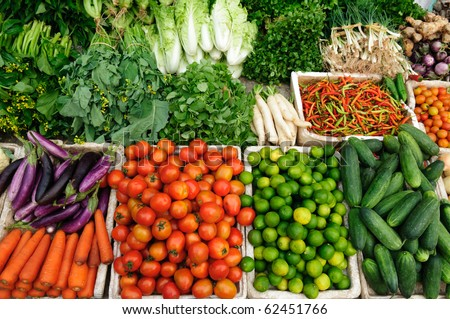 Fresh vegetables market, Luang pra bang, Laos - stock photo