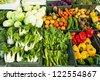 Fresh vegetables market, thai - stock photo