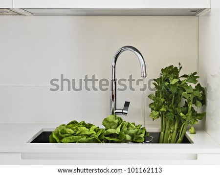 fresh vegetables on the sink in a modern kitchen - stock photo
