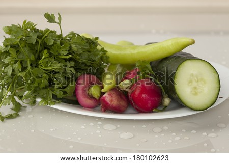 Fresh vegetables on the white plate. - stock photo
