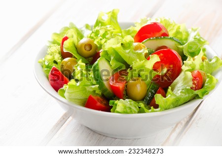 Fresh  vegetables salad in a  bowl. Selective focus - stock photo