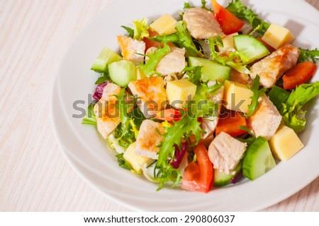 fresh vegetables salad with chicken and cheese - stock photo
