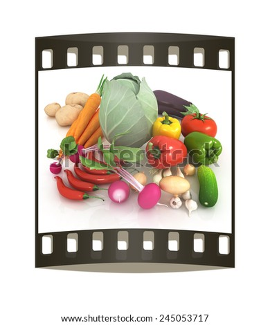 fresh vegetables with green leaves on a white background. The film strip - stock photo