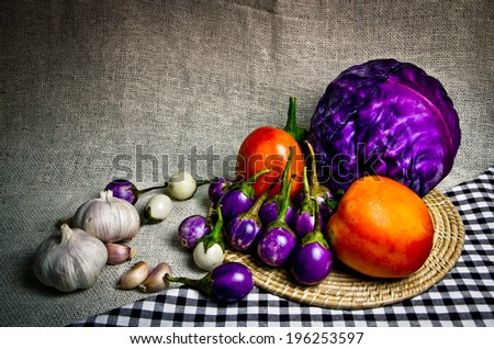 Fresh vegetables with Still life - stock photo