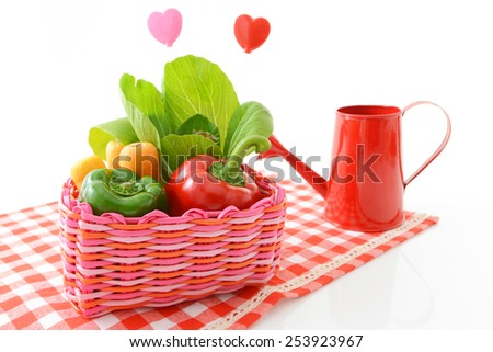 Fresh vegetables with watering can  - stock photo