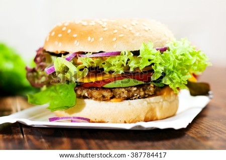Fresh Vegetarian Burger with hazelnut mushroom patty - stock photo