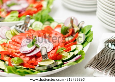 fresh vegetarian salad on the plate, catering - stock photo