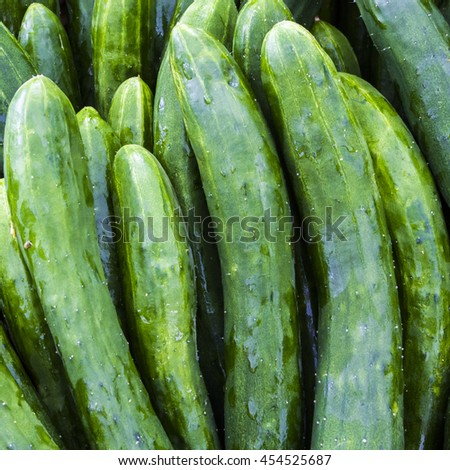Fresh vibrant green cucumber at an outdoor market - stock photo