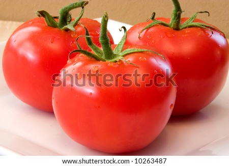 Fresh Vine Ripened Tomatoes on a white plate. Red Tomatoes hand picked for the grocery market These will add fresh ingredients to your vegetable list - stock photo