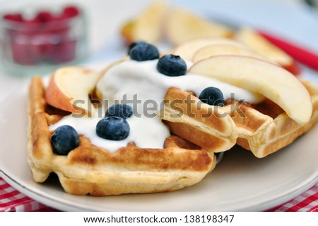 Fresh Waffles with Blueberries - stock photo