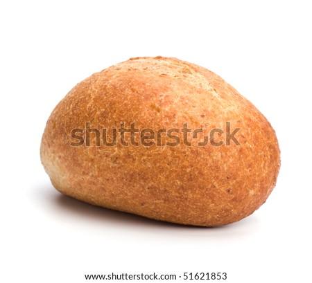 fresh warm roll isolated on white background - stock photo