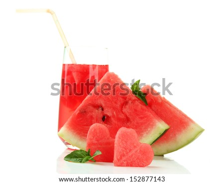 Fresh watermelon and glass of watermelon juice isolated on white - stock photo
