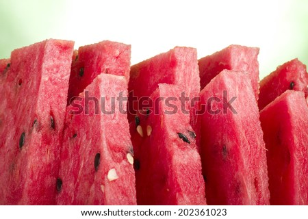 Fresh watermelon sliced close up on the table  - stock photo