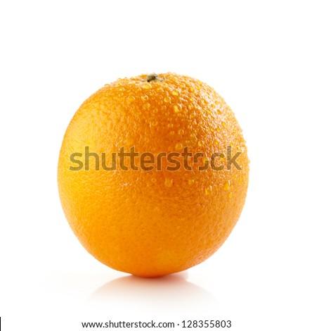 fresh wet orange on white background - stock photo