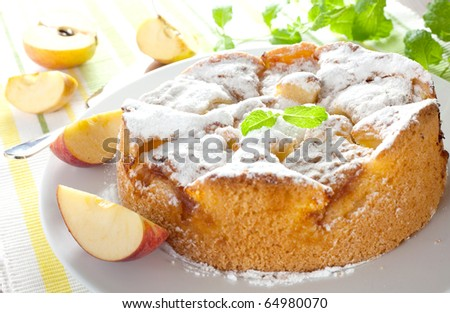 fresh whole apple pie on plate - stock photo